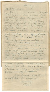 Letter written by a passenger while on board the Empress of Britain to family in Massachusetts