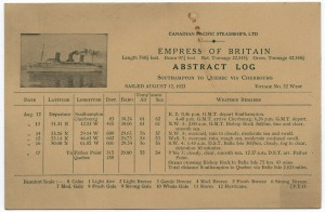 Abstract log from the Empress of Britain