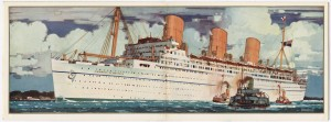 Illustration of the Empress of Britain by Kenneth D Shoesmith, found inside a promotional booklet for the ship