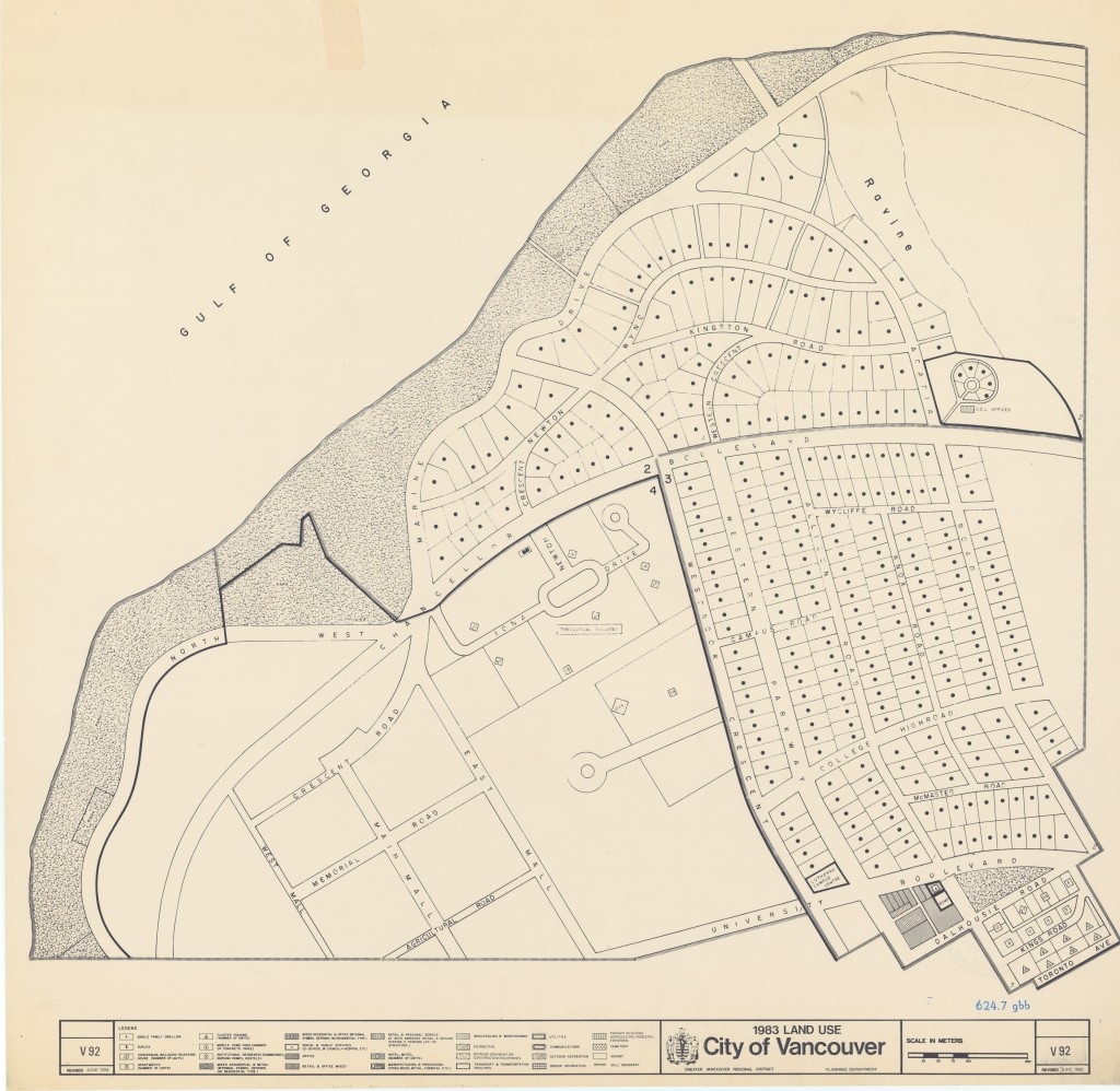 Map from the 1983 series showing in part the area occupied by the Irving K. Barber Learning Centre (our home!).