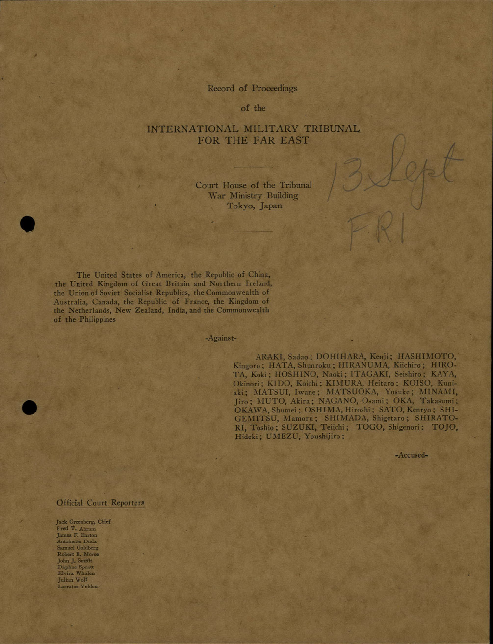 the international military tribunal for the far east Bibliography of materials at marquette law library that relate to the international military tribunal for the far east / tokyo war crimes trials.