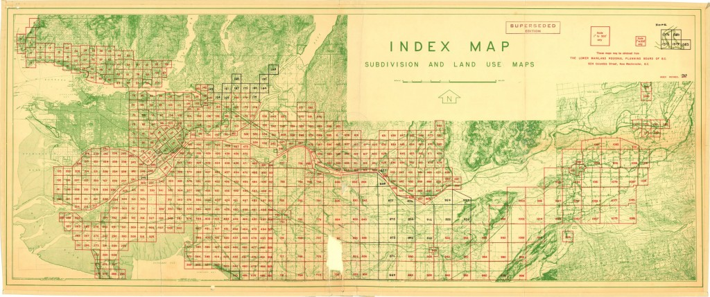 Large objects such as this 1965 Index Map from the Greater Vancouver Regional District Planning Department (92 x 38 cm) craete very large digital files when imaged on the Contex Scanner. http://digitalcollections.library.ubc.ca/cdm/ref/collection/gvrdmaps/id/1901