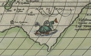This map from 1587 has what might be the scariest serpent/whale ever seen swimming in the Indian Ocean.