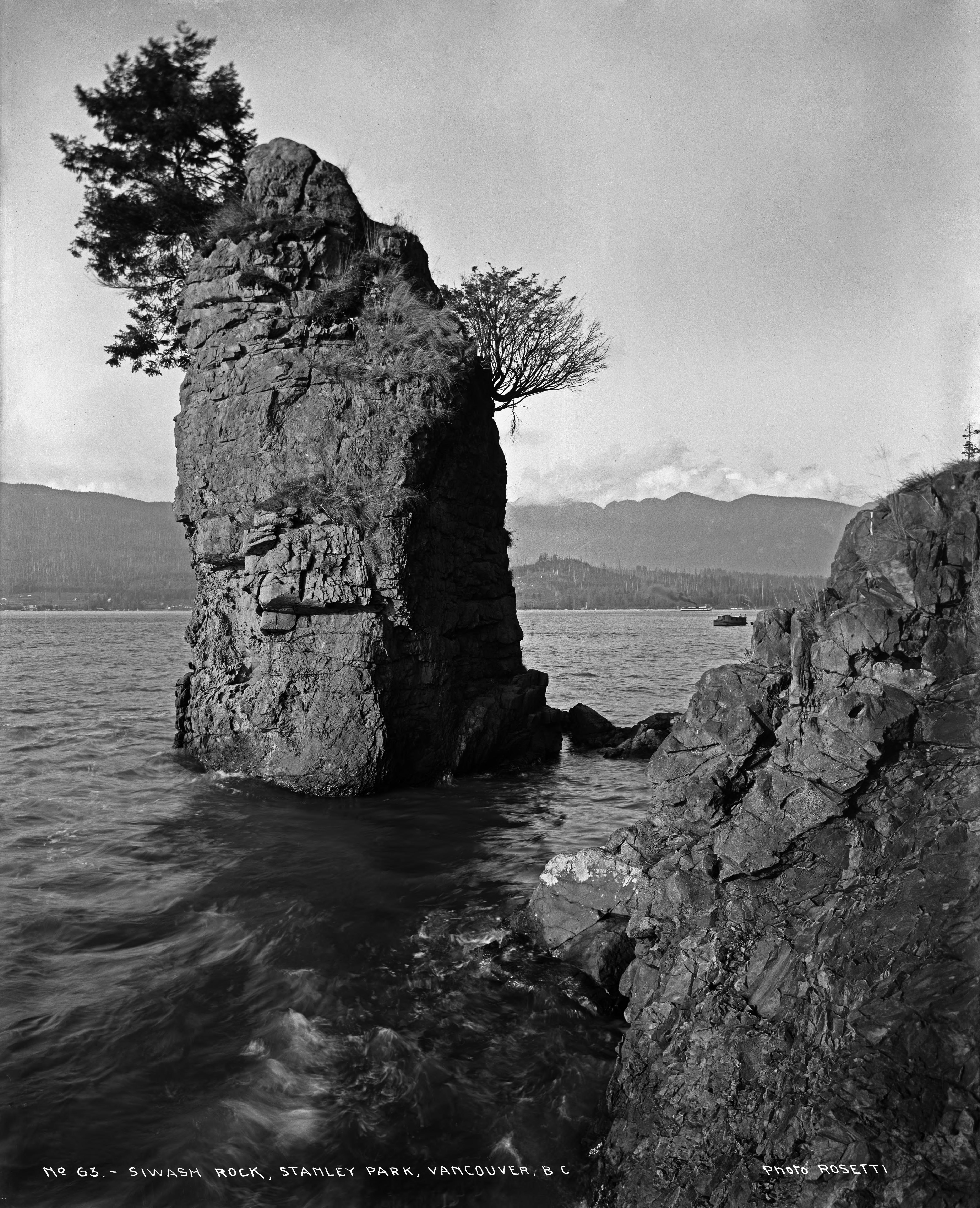 No. 63 - Siwash Rock, Stanley Park, Vancouver, B. Taken 1912