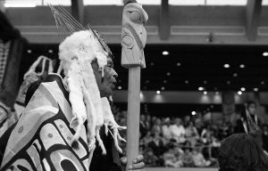 A Haida ceremony to mark the opening of the Raven sculpture at MOA, ca. 1980