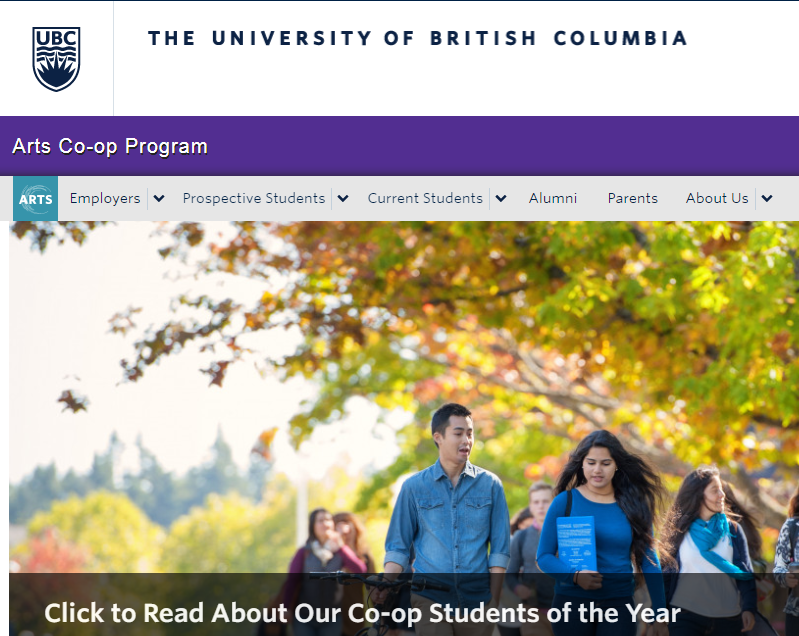 Homepage of artscoop.ubc.ca. Features a banner ad for Co-op students of the year with a stock photo of a group of students walking under a large tree.